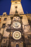 Night view of the medieval astronomical clock in the Old Town square in Prague, Czech republic Stock Photos