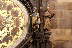 Night view of the medieval astronomical clock in the Old Town square in Prague, Czech republic Royalty Free Stock Photos