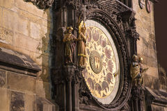Night view of the medieval astronomical clock in the Old Town square in Prague, Czech republic Stock Photo