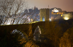 Night view of medieval bridge. Besalu Royalty Free Stock Images