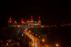 Night view of the medieval castle Kamenets-Podolsk Ukraine. Stock Photography