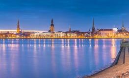 Night  view on medieval city of Riga, Latvia Stock Photography