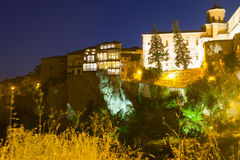 Night view of medieval houses   in Cuenca Royalty Free Stock Images