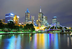 Night view of Melbourne skyline and Yarra river Royalty Free Stock Images