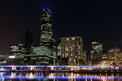 Night view of Melbourne stock photos