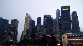 Night view of Merlion statue, landmark of Singapore Stock Photo