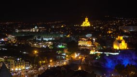 Night view of Metekhi Bridge. Overview of Tbilisi at night. Georgia stock video footage