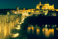 Night view of Mezquita-Catedral and Puente Romano - Mosque-Cathe Royalty Free Stock Photo
