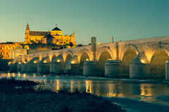Night view of Mezquita-Catedral and Puente Romano - Mosque-Cathe Royalty Free Stock Images
