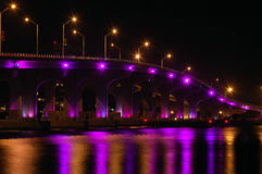 Night View of Miami Bridge to South Beach Stock Image