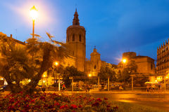 Night view of Micalet tower and Cathedral. Valencia, Spain Royalty Free Stock Photos
