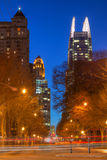 Night view of Midntown Atlanta, USA. Night view of skyscrapers on the 14th Street in the Midtown Atlanta, USA Stock Photo