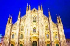 Night view of Milan Cathedral or Duomo di Milano. Italy Stock Photo