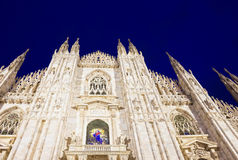 Night view of Milan Cathedral or Duomo di Milano. Italy Stock Photography