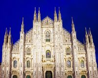 Night view of Milan Cathedral or Duomo di Milano. Italy Royalty Free Stock Image