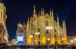 Night view of Milan Cathedral Stock Photography