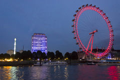 Night view of the Millenium wheel Stock Photography