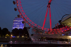Night view of the Millenium wheel, red lighted Stock Photo