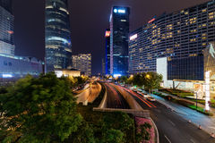 Night view of Mingzhuta Road in downtown of Shanghai, China Stock Images