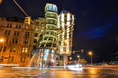 Night view on moder building Dancing House or Fred and Ginger. Prague, Czech Republic - October 11, 2017: Night view on moder building Dancing House or Fred and Stock Photography