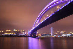 Night view of modern bridge Royalty Free Stock Images