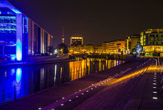 Night view of modern building in Mitte, Berlin Stock Photos