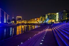 Night view of modern building in Mitte, Berlin Stock Photo