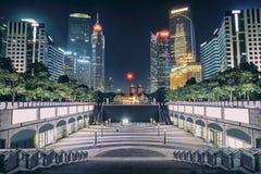 Night view of modern buildings Stock Photos