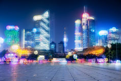 Night view of modern buildings in Guangzhou Royalty Free Stock Image