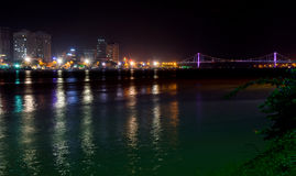 Night view of modern buildings and Han River in Danang city Royalty Free Stock Photography