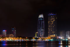 Night view of modern buildings and Han River in Danang city. Vietnam royalty free stock photo