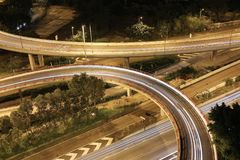 Night view Modern city traffic of highway and bridge Stock Image