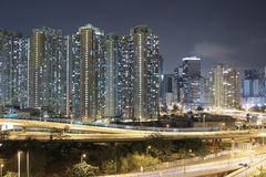 Night view Modern city traffic of highway and bridge Royalty Free Stock Images