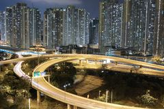 Night view Modern city traffic of highway and bridge Stock Photography