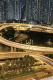 Night view Modern city traffic of highway and bridge Royalty Free Stock Photography