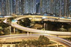Night view Modern city traffic of highway and bridge Royalty Free Stock Photo