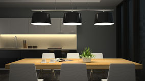 Night view modern interior of dining room Stock Images
