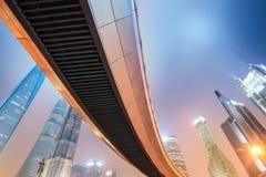 Night view of modern metropolis in shanghai. Pedestrian bridge through lujiazui financial center,China stock photos
