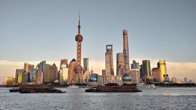 Night view of the modern Pudong skyline across the Bund in Shanghai, China. Shanghai is the largest Chinese city royalty free stock images