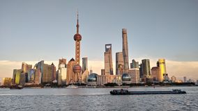 Night view of the modern Pudong skyline across the Bund in Shanghai, China. Shanghai is the largest Chinese city stock photography