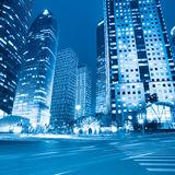Night view of modern street in shanghai Stock Photos