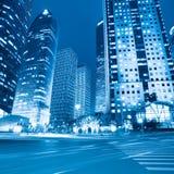 Night view of modern street in shanghai Stock Photos