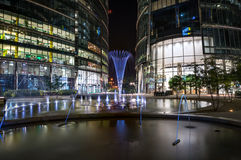 Night view of modern Warsaw architecture Stock Photography