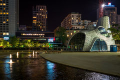 Night view of modern Warsaw architecture Stock Photos