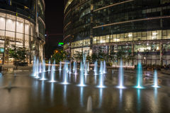 Night view of modern Warsaw architecture Royalty Free Stock Photo