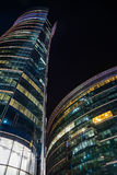 Night view of modern Warsaw architecture Royalty Free Stock Images