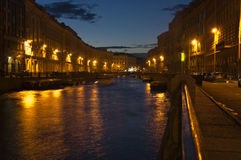 Night view of Moika river Royalty Free Stock Photo