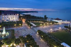 Night view of Molo square in Sopot Stock Photos