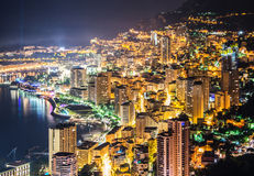 Night view of Monaco. From mountain Stock Photography