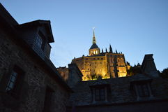 Night View of The Mont-Saint-Michel in France. The picture of The Mont-Saint-Michel in Normandy Royalty Free Stock Photography